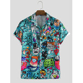 Heren Character Printing Turn-down kraag Casual shirts