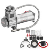 12V 200 PSI Silver Air Compressor 1/4'' Hose Set With Relays Switch For Car Truck Train Honrs Suspension