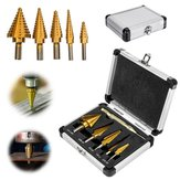 6Pcs Titanium Drill Bit Set Steel Step Drill Bits Cone Multiple Hole 50 Sizes with Case Kit