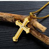 Trójwarstwowy męski naszyjnik ze stali krzyżowej z tytanu