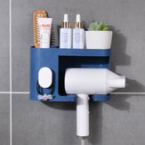 Multifunction Adhesive Hair Dryer Holder Bathroom Hair Blow Drier Holder with Hair Care Tools Storage Baskets