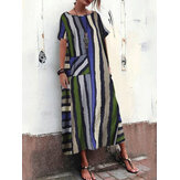 Bohemian Multi Color Striped Print Plus Robe maxi taille