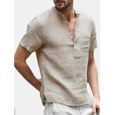 INCERUN Herren Button V-Ausschnitt Casual T-Shirts Sommer Kurzarm Comfort Loose Solid Color Tops T-Shirts