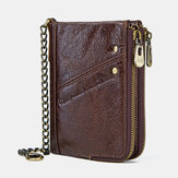 Men Genuine Leather RFID Blocking Anti-Theft Vintage Zipper Coin Bag Card Holder Chain Wallet