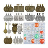 35Pcs/Set Pendant Trays Set DIY Jewelry Bezel Making Crystal Bracelet Pendant Silicone Resin Mould Jewelry Casting Molds Kit Vintage Base