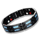 Men Carbon Fiber Titanium Steel Magnetic Bracelet Therapy Energy Health