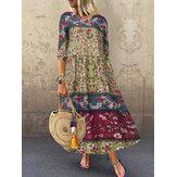 Maxi-jurk met 3/4 mouwen en losse baggy print