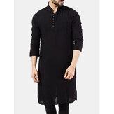 Hombre Pakistán Kurta Kaftan Pijama Manga Larga Étnico Vestido Camisa Blusa Top NUEVO