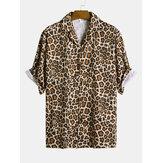 Heren Leopard Print Korte mouw Ontspannen Revere-shirts