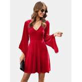 Women Solid Color V-neck Bell Long Sleeves Mini Dress