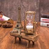 Creative Retro Tower Wooden Hourglass Decorations Ornaments Paris Sandglass Eiffel Tower