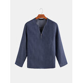 Mens Casual Blue Denim manga comprida V Neck Shirts