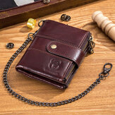 Bullcaptain Men Genuine Leather Vintage RFID Blocking Foldable Anti-Theft Chain Walllet Card Holder
