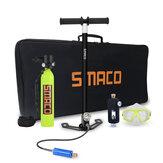 SMACO 0.7L Oxygen Cylinder Scuba Adapter Seilhandtasche Tauchbrille Inflator Pumpe Tauchset