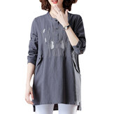 Linen Embroidery Long Sleeve Button Neck Blouse