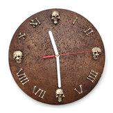 Orologio da parete in resina con teschio a parete Art Abstract Wall Clock Decorazioni per la casa di Halloween