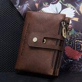 Men Women Vintage Genuine Leather Wallet Card Holder Coin Bag
