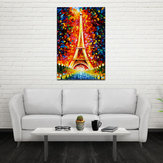 Miico Hand Painted Oil Paintings Eiffel Tower Scenery Wall Art For Home Decoration