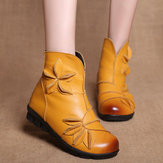 Women Handmade Flower Leather Comfy Ankle Boots
