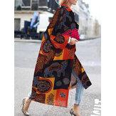 Vrouwen Vintage losse gedrukte vesten met lange mouwen