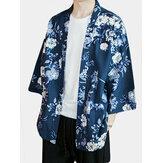 الرجال اليابانية نمط الأزهار سترة كيمونو معطف فضفاض كيمونو سترات يوكاتا رداء