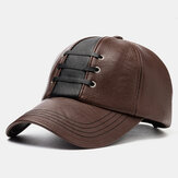 Collrown Men's PU Leather Woven Hat Baseball Cap Warm Hats