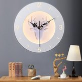 220V LED Nordic Deer Round Reloj Night Light Wall Lámpara Dormitorio Sala de estar Decoración 24CM
