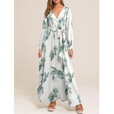 Women Causal V-neck Belted Holiday Maxi Dress