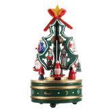 Drewniana choinka Obrotowa pozytywka Zabawki Dzieci Prezent na Boże Narodzenie Dekoracje domu