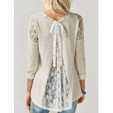 Women Casual Lace Patchwork O-Neck High Low Hem Blouse