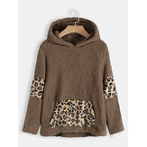 Women Fleece Leopard Patchwork Pocket Hooded Sweatshirt