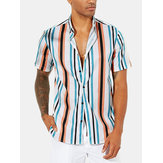 Mens Hawaiian Striped Collar Loose Short Sleeve Shirts