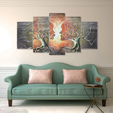 5 panelen Modern Abstract Love Lady Tree Canvas schilderijen Prints Wall Art Decor