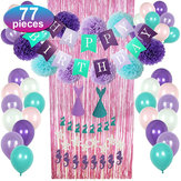77pcs Mermaid Party Supplies Party Dekorationen für Mädchen Geburtstagsfeier Baby Shower Dekoration
