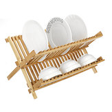 Foldable Bamboo Dish Drainer Kitchen Drain Shelf Rack Cup Bowl Stand Holder