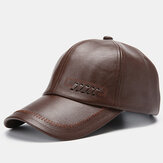 Collrown Mens Leather Baseball Cap Outdoor Warm Trucker Adjustable Hats