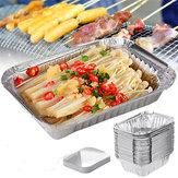 Vassoi in alluminio da 50 pezzi Teglia da forno monouso per barbecue con contenitore per alimenti con coperchio