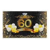 5x7FT Winyl 60-te Balon z okazji urodzin Diamentowa Korona Fotografia Tło Tło Studio Prop