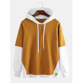 Men's Color-matching Hooded Casual Sports Loose Cotton Pullo