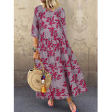 Women 3/4 Sleeve O-neck Floral Maxi Dress