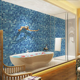 Loskii H1379 Blue Modern Style Self Adhesive Wallpaper Roll For Bathroom PVC Waterproof Film Patch Wall Sticker