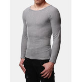 INCERUN Mens O Neck Pullover Long Sleeve Slim Fit T-shirts