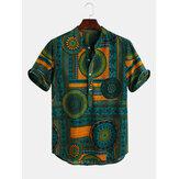 Heren Etnische stijl bedrukte ademende zomer Henley shirts