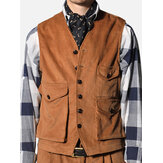 Mens Retro Corduroy Vest Multi Pockets Sleeveless Coat Tops