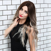 Loose Wave Lace Front Perücken 24 Zoll lang Ombre Silver Dark R.