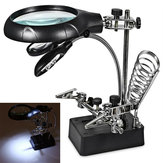 LED Desk Lamp 10X Magnifying Magnifier Glass With Light Stand Clamp For Repair