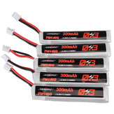 5Pcs URUAV 3.8V 300mAh 70C/140C 1S Lipo Battery PH2.0 Plug for Eachine TRASHCAN Snapper6 7 Mobula7
