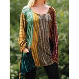 Mujeres Ocasionales irregulares dobladillo gradiente o-cuello camisetas