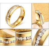 Gold-plated Perimeter Crystal Stick Diamond Ring