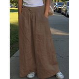Weites Bein Damen Lässige Einfarbige Lose Hohe Elastische Taille Seitentaschen Hosen